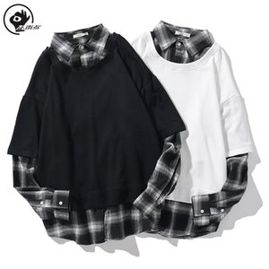 Little Raindrop Fake Two Pieces Shirt Men Women Long Sleeve Vintage Plaid Streetwear Casual Spring Autumn Harajuku Shirts