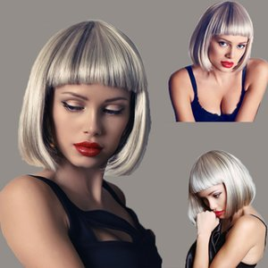 Factory supply attractive price short natural wigs for black women short Short Bob Wigs Silver Colorful Party Wig Synthetic