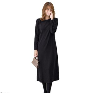 SVOKOR Brown Round Neck Plus Cashmere Dress Loose Long Sleeve Sweater Dress All-Match Casual Over The Knee Shirt