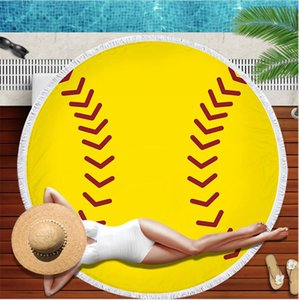 150*150cm Baseball Beach Blanket Towel Polyester Tapestry Tassel Shawl Printing Yoga Mat Picnic Rugs Football Basketball Softball LJJP810