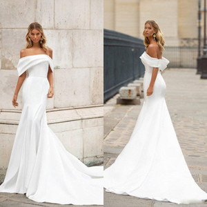 Milla Nova Mermaid Wedding Dresses Off Shoulder Sleeveless Satin Sheath Wedding Dress Sweep Train Bridal Gowns Vestido De Novia