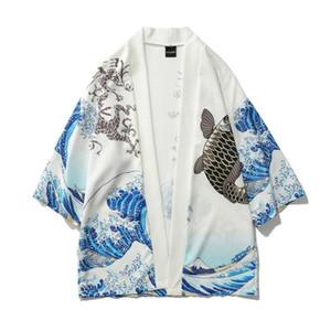 2020New Men Wave Carp Print Long Kimono Cardigan male Japanese Kimono Cardigan Thin Mens drop ship hot sale Jacket top Coat