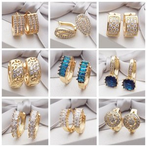 Earings 16 Different Styles Fashion Trendy Jewelry Gold Earring Round Cubic Zirconia Crystals Hoop Earrings for Women Girls Gift1