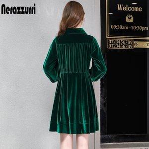 Nerazzurri бархатные женщины плиссированные теплые черные зеленые длинные рукава велюровые кнопки длина колена плюс размер падение платье 6xL 7xL Y200805