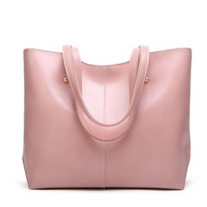 2020 womens luxury designer purses handbags Oil Wax Leather Large Capacity Tote Bag Casual Pu Leather Women Shoulder Bag pink