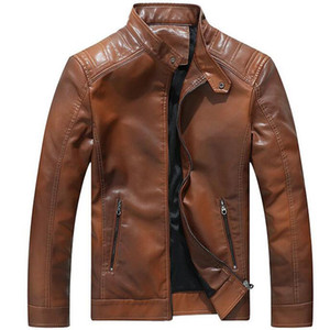 Leather Jacket Men Fashion Stand Collar Fleece Coats Chaqueta Cuero Hombre Mens Casual Faux Leather Motorcycle Biker Jackets