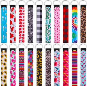 Wristband Keychains Floral Printed Key Chain Neoprene Key Ring Wristlet Keychain Party Favor Festive Party Supplies AHB3032