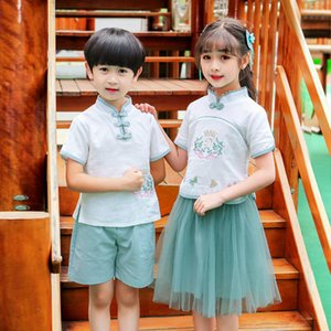 Oriental Chinese Style Retro Hanfu Dress Embroidery Kids Tang Suit Performance Toddler Boys Girls Chinese Folk Dance Costumes Y1117