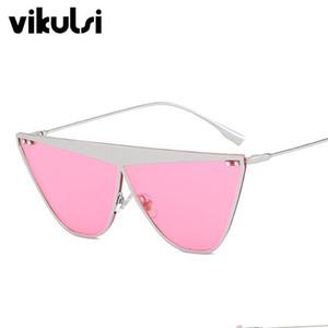 New Luxury Italy Brand Designer Top Flat Cat Eye Sunglasses Women Men Retro Metal Frame Aviation Sun Glasses Female Gafas de Sol