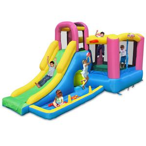 Multifunktions-Rutsch-Bounce House-aufblasbares Trampolin-Jumping-Schloss-Bouncer-Jumper mit Kletterball-Pit-Spielplatz für Kinderschnelle Lieferung