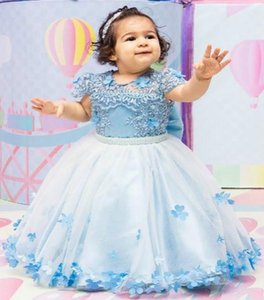 2020 Light Blue Lace Beaded Flower Girl Dresse Ball Gown Hand Made Flowers Little Girl Wedding Dresses Cheap Communion Pageant Dresses Gowns