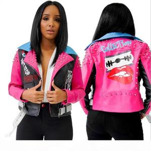 2020 pink Cool Women's Rivet Printing Lapel Contrast Color Zipper PU Leather Coat Long-sleeve Short Jacket Women Jackets Female