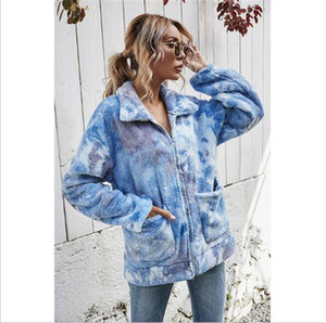 20 European and American winter new ladies tie-dye plush thickened zipper loose gradient color fashion lapel jacket S-XL