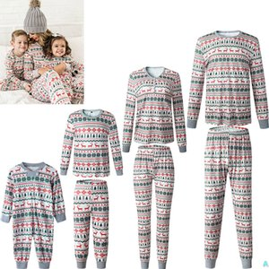 Xmas Ins Çocuklar Yetişkin Kırmızı Yeşil Aile Eşleştirme Noel Geyik Çizgili Pijama Pijama Gecelikler Pijama Bedgown Sleepcoat Nighty Bedava FedEx