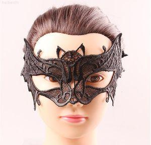 Masques Femmes Femmes Mode Crown Fox Bat Masquerade Design Halloween Black Halloween Partie de lace de lace de la dentelle Masques de graduation Birtyday Sexy moitié visage MH