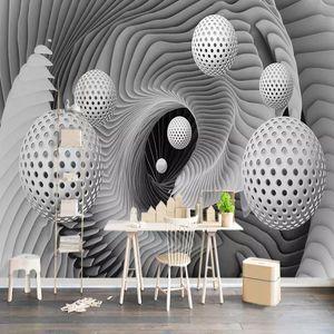Diantu Custom Wall Mural Paintings 3D Stereoscopic Ball Space Vortex Modern Living Room TV Background Wallpaper Papel De Parede