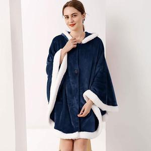 Wearable Blanket Hoodie Winter Cloak Fleece Soft Blankets Outdoor Sweatshirt Microfiber Hooded Coats Plush Warm Blankets