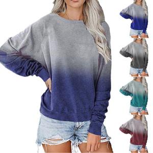 2020 Nuovo Autunno Primavera Donna Abbigliamento Moda di base maniche lunghe femminili Pullover Casual Top girocollo sciolto Sfumature Tee