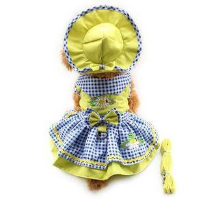 Armi store Flower Pattern Dog Dresses Princess Dress Dogs 6071055 Pet Supplies ( Dress + Hat + Panties + Leash = 1set 201114