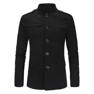 Carrinho homens fashion blazers colarinho trabalho trabalho festa de pré-vestido novo casual jaqueta mao estilo magro fit jovens vida diária cinza