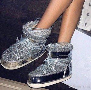 Женская зимняя Golden Glitter Sequin Snows Boots Обувь с Faux Fur Pair Pair Boet для женской BotteNe Femme Botine Moon Бесплатная доставка