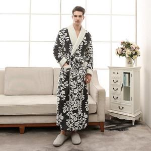Thick Cation Flannel Mens Robes Long 2018 Winter Bathrobes For Men Robe For Men Winter 13011