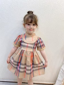 Girls Plaid Designer Dresses 2021 New INS Children Summer Ruffle Collar Short Sleeve Princess Dress Kids Lattice Pleated Dress V259
