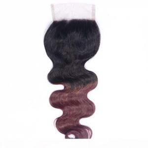 Ombre Brésilien Body Wave Fermeture T1B 99J Human Hair Dentelle Fermeture Bourgogne Rouge Fermeture de cheveux 8-20 pouces