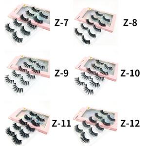 12 Styles 5 Pairs Lot 3D Mink Natural False Eyelashes Handmade Black Thick Long Lashes Makeup DHL Fast Shipping