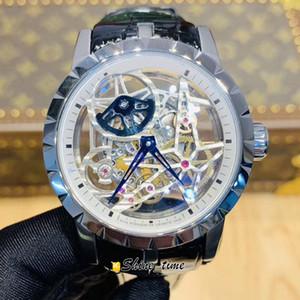 V2 Versão Atualizada Excalibur Esqueleto Dial Prata Aço Inoxidável Caso RDDBEX0473 Automático Mecânica Mens Relógio de Couro Strap Relógios
