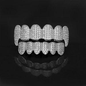 Gold Grillz Teeth Rhinestone Top&Bottom Teeth Grills Set Shiny Bling Iced Out Teeth Grillz Hip Hop Jewelry