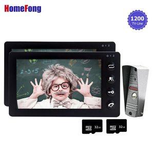 HomeFong Video Boorbell Door Phone Intercom 1200tvl السلكية 7 بوصة 2 شاشات دعم الدعم كشف الحركة IR رؤية فيلا المنزل