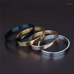 Sangsy 6mm / 8mm Largura Mulheres / Homens Braceletes Bangle Aberto Bangão Design Aço Inoxidável 4 Cores Braceletes para Pares Pulseira1