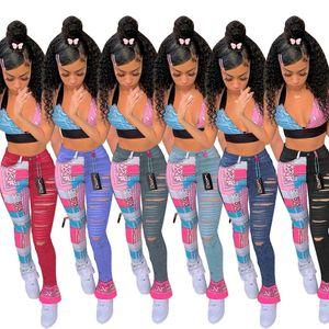 Designer Women Jeans Stampato Tassel Tassel Slit Denim Matita Pantaloni Pantaloni Casual Pantaloni dritti Signore Moda Pantaloni per il tempo libero 815