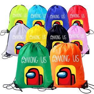 Among Us Anime Game Cartoon Drawstring Backpack Kids Boys Girls Waterproof Drawstring Bags Children Portable Organizer Backpacks E112301