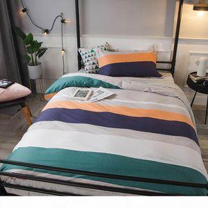 2019 INS Green Blue Grey Stripes Dormitory 3pcs Bedding Set Twin Hypoallergenic Cotton Bedlinens Duvet Cover Set Single Bed