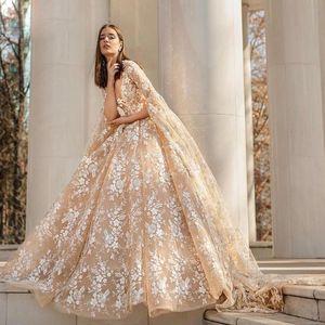Elegant Champagne Flower Lace Wedding Dresses Very Long Puff Sleeves Vintage Bridal Gowns Vestido De Fiesta
