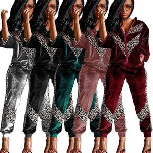 Fixsys Bayan Moda Trendy 2020 Eşofman 2 Parça Set Kış Leopar Baskı Joggers Iki Parçalı Set Kadın Eşofman Kadın