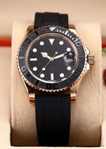패션 여성 망 방수 시계 40mm 세라믹 베젤 고무 스트랩 자동 기계식 시계 스테인레스 스틸 다이빙 손목 시계 최고의 선물