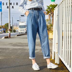 Semir Kadın Moda Kot 2020 Yeni Yüksek Bel Gevşek Pamuk Nefes Düz Casual Kız Kot A1112