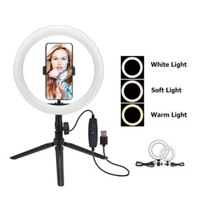 6 10 Inch Dimmable Photography LED Selfie Ring Light USB Charger Youtube Video Live Photo Studio Light Phone Holder Mini Tripod