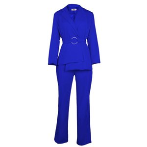 Office Lady Two Pieces Set Blazer Elegant Waist Belt and Wide Leg Pants Fall Jacket Business Suits Ladies Plus Size XXL Trousers