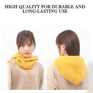 Unisex Winter Cashmere Warm Thick Knitted Caps Collar Wool Caps Fashion Dual-Use Outdoor Color Solid Paragraph Hooded Warm R6E7