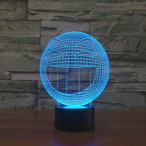 2021 Nouveau 7 couleurs brillantes LED Night 3D Illusion Smile Emjoy Table Lampe Creative Accueil Décor Touch Switch Usb Novelty Lumière Chaude Sale 7K3J