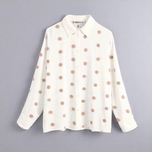 Polka Dot Embroidery Women Long Sleeve Shirt 2019 Autumn Leisure Lady Turn down Collar Blouse Loose Tops S6360
