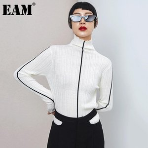 [EAM] Striped Thin Knitting Sweater Loose Fit Turtleneck Long Sleeve Women Pullovers New Fashion Tide Autumn Winter 2020 1DD0473