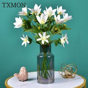 Txmon 65cm Realistic Feel PU film simulazione floreale fiore magnolia bouquet singolo fiori finti fiorini artigianale decorazione dell'armado
