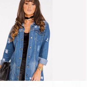 Women Basic Coat Denim Jacket Women Winter Hole Denim Jacket for Women Jeans Coat Loose Fit Casual Style