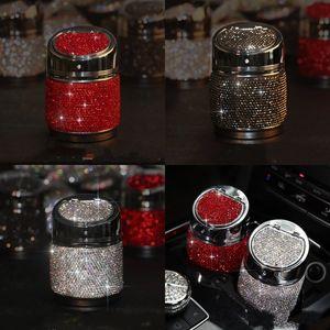 Inlay Rhinestone Cenicero de cenicero con cubierta Bling Bling Accesorios de cigarrillos Cilindro de metal Forma de Ceniza Bandeja Portátil Portátil 27YJ G2