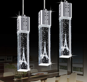 Personality Eiffel K9 Bubble Crystal Tower Led Chandelier Personality Creative Restaurant Cafe Bar Hotel Dinning Room LED Pendant Lamp RW481